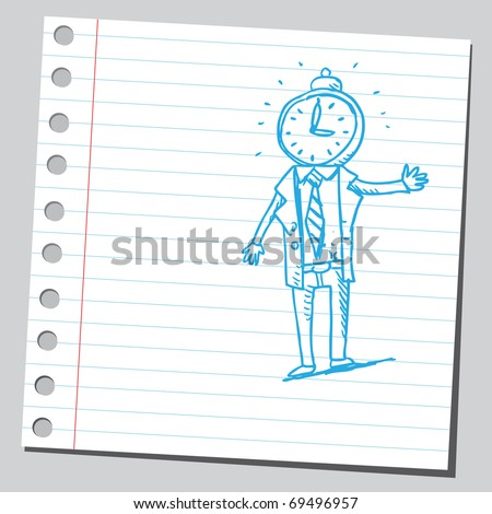 Sketchy illustration of a bizarre man with clock head