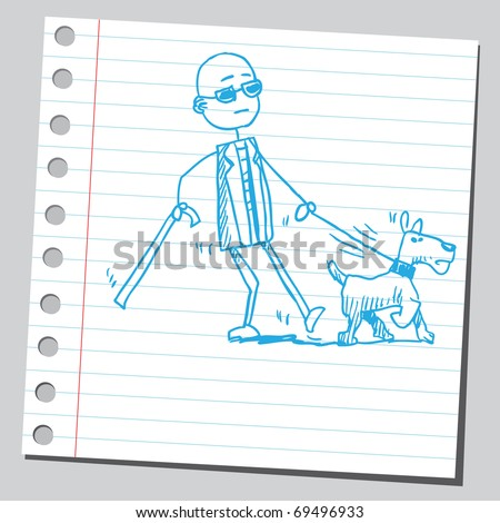 Sketchy illustration of a blind man walking with dog