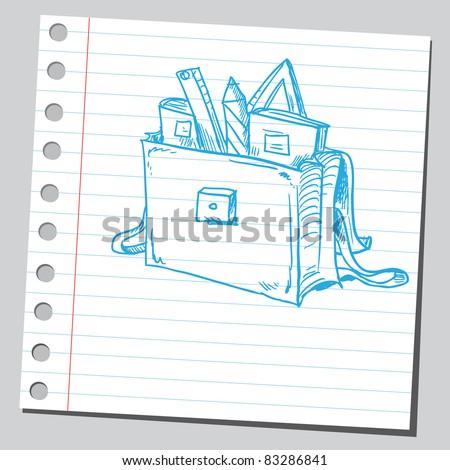 stock vector : Sketchy illustration of a blue school bag.