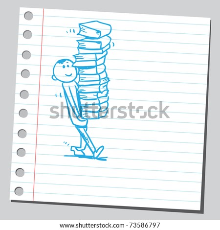 Sketchy illustration of a boy carrying books