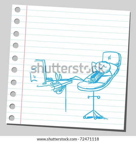Sketchy illustration of a businessman's rest