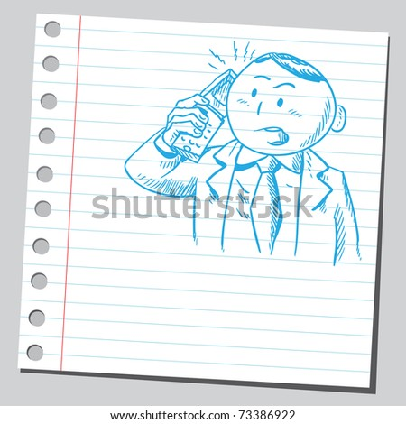 Sketchy illustration of a businessman speaking on a cellphone