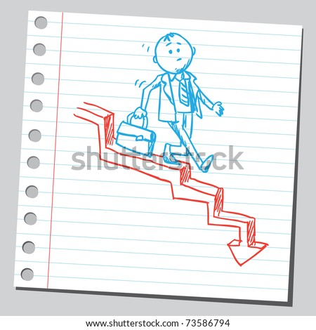 Sketchy illustration of a businessman walking downstairs