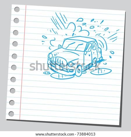 Sketchy illustration of a car wash
