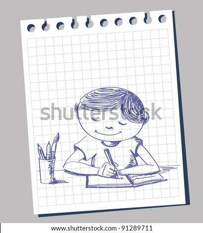 Sketchy illustration of a child doing homework