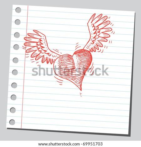 Sketchy illustration of a flying heart