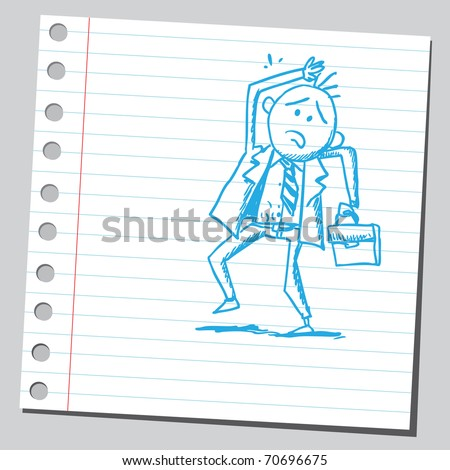 Sketchy illustration of a frightened businessman