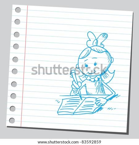 Sketchy illustration of a girl doing homework