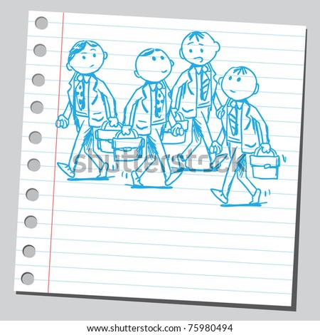 Sketchy illustration of a group of businessmen walking - stock vector