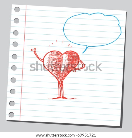Sketchy illustration of a heart speaking