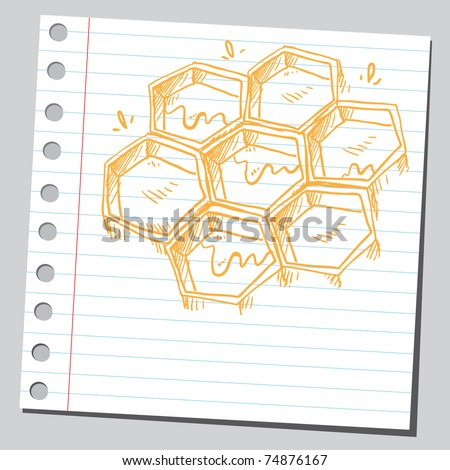Sketchy illustration of a honeycombs