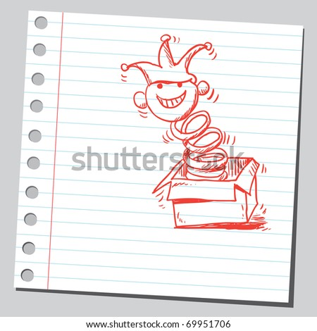 Sketchy illustration of a jack in the box - stock vector
