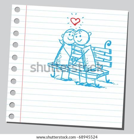 Sketchy illustration of a kids in love
