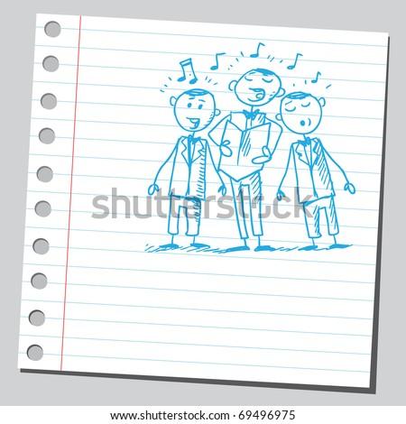 Sketchy illustration of a men choir