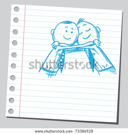 Sketchy illustration of a men hugging