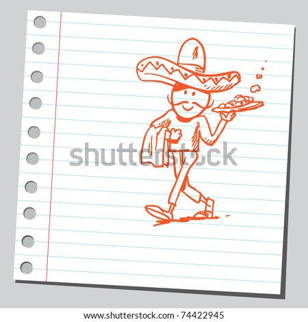 Sketchy illustration of a mexican waiter