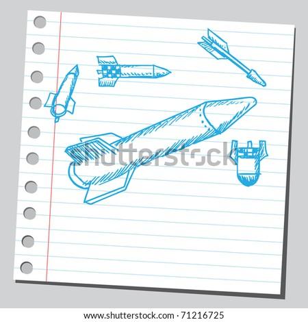 Sketchy illustration of a missiles