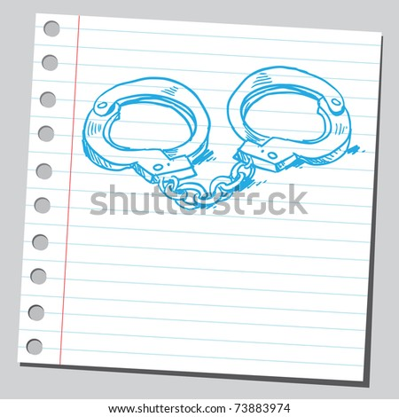 Sketchy illustration of a police handcuffs