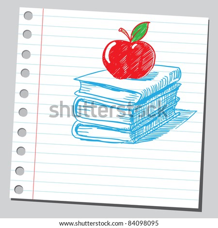 Sketchy illustration of a red apple on books