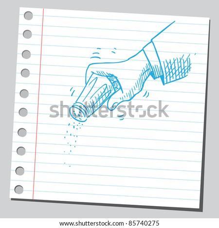Sketchy illustration of a salt shaker in hand