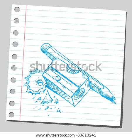 Sketchy illustration of a sharpener and pencil - stock vector