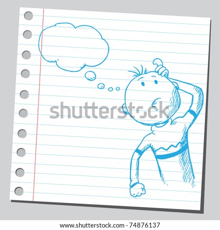Sketchy illustration of a thinking man
