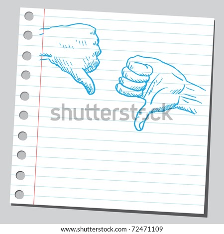 Sketchy illustration of a thumbs down - stock vector