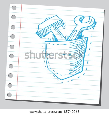 Sketchy illustration of a tools in pocket - stock vector