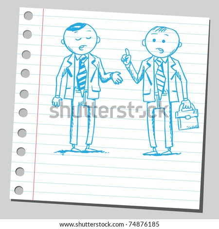Sketchy illustration of a two businessman talking
