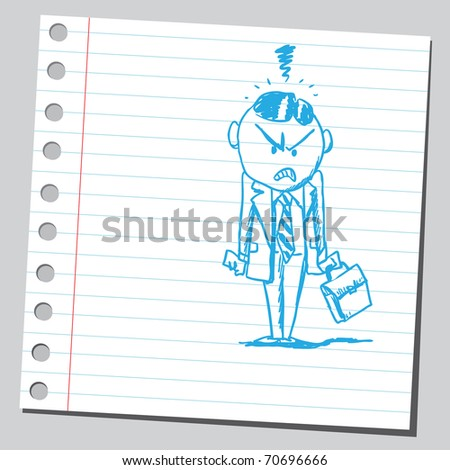 Sketchy illustration of an angry businessman