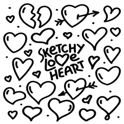 Sketchy love heart illustration and drawing symbol set. Hand drawing.