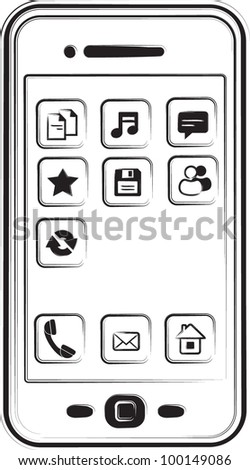 Sketchy phone - stock vector