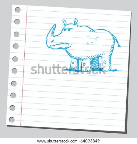 Sketchy rhinoceros