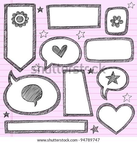 Sketchy School Shape Frames and Speech Bubbles Hand-Drawn Notebook Doodles Set- Vector Illustration Design Elements on Lined Sketchbook Paper Background - stock vector