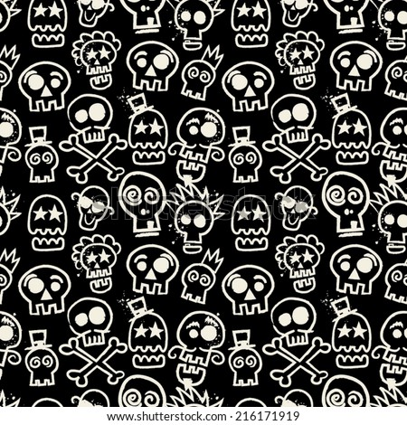 sketchy skull seamless repeat