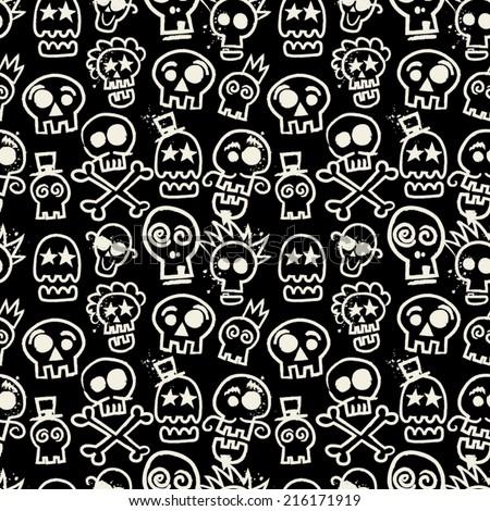 Sketchy Skull Seamless Repeat Wallpaper in Black