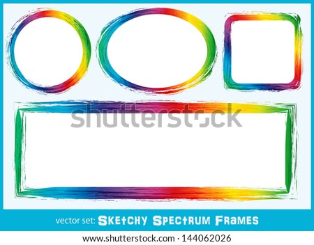 Sketchy Spectrum Frames - Background frames with sketchy spectrum coloring in circle, square and oval with copyspace