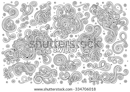 Sketchy vector hand drawn Doodle cartoon set of curls and swirls decorative elements
