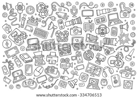 Sketchy vector hand drawn Doodle cartoon set of equipment and devices objects and symbols
