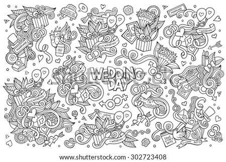 Wedding concept bridal accessories vector download free vector art sketchy vector hand drawn doodle cartoon set of objects and symbols on the wedding theme junglespirit Gallery