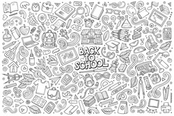 Sketchy vector hand drawn doodle cartoon set of School objects and symbols