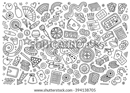 Sketchy vector hand drawn doodles cartoon set of Casino objects and symbols