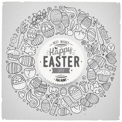 Sketchy vector hand drawn set of Easter cartoon doodle objects, symbols and items. Round frame composition