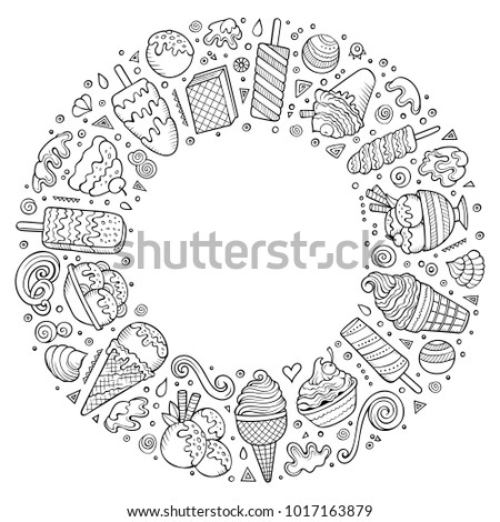 Sketchy vector hand drawn set of Ice Cream cartoon doodle objects, symbols and items. Round frame composition