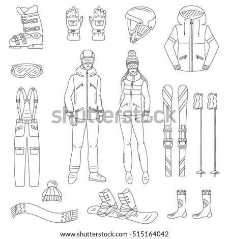 ski and snowboard icons set