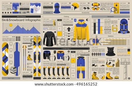 ski and snowboard infographic