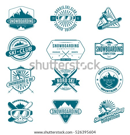 Ski and Snowboard monochrome Badges and labels. Collection of Ski club and snowboarding logos. Winter outdoor activity emblems and symbols in retro style. Vector