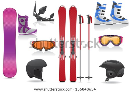 ski and snowboarding set icons