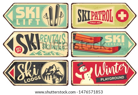 Ski and winter holiday retro signs collection. Vintage vector illustration with winter vacation and snow sports theme. Ski rentals and ski wear signs. Photo stock ©