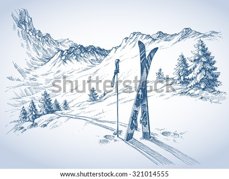 ski background  mountains in